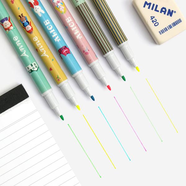 세계문학 듀오 형광펜 2색 패키지 - 스트라이프